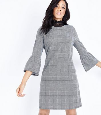 Tall Black Check Bell Sleeve Dress New Look