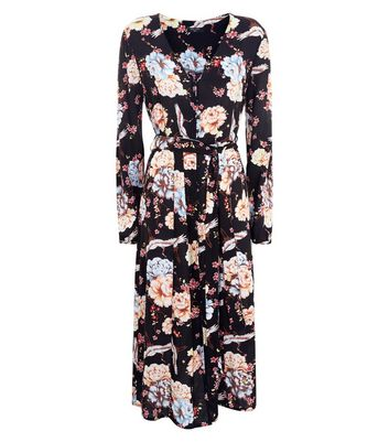 Tall Black Floral Button Front Midi Dress New Look