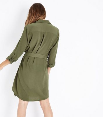 Khaki Zip Front Belted Shirt Dress New Look
