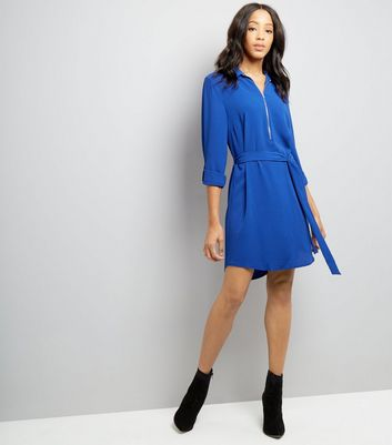 Blue Zip Front Belted Shirt Dress New Look
