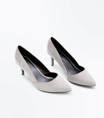 Wide Fit Grey Patent Suedette Contrast Pointed Courts New Look