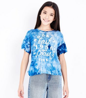 Teens Blue Tie Dye Brooklyn T-Shirt New Look