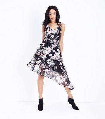 Black Floral Chiffon Frill Trim Asymmetric Dress New Look