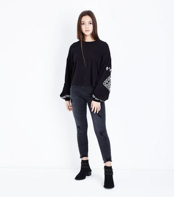 Teens Black Embroidered Detail Long Sleeve Top New Look