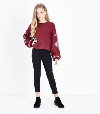 Teens Burgundy Embroidered Detail Long Sleeve Top New Look