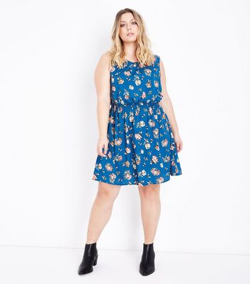 Curves Blue Floral Shirred Waist Dress New Look