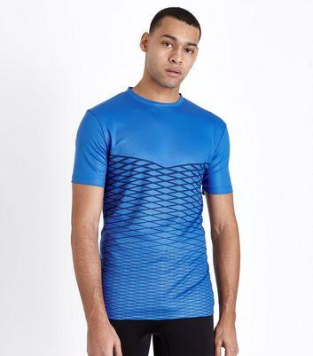 Bright Blue Lattice Print Sport T-Shirt New Look
