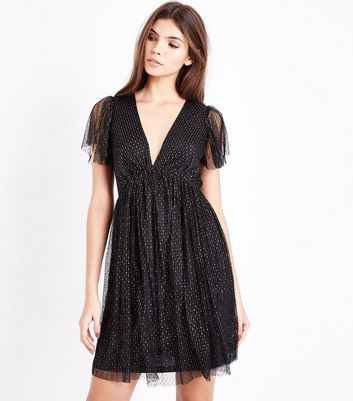 Black Metallic Spot Mesh Dress New Look