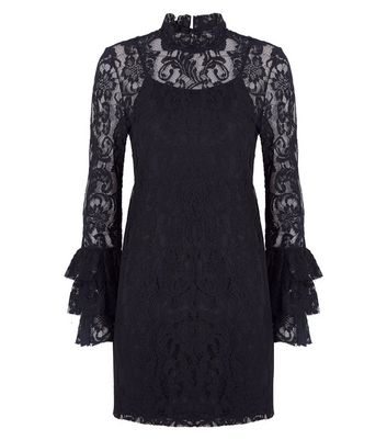 Petite Black Lace Tiered Sleeve Tunic Dress New Look
