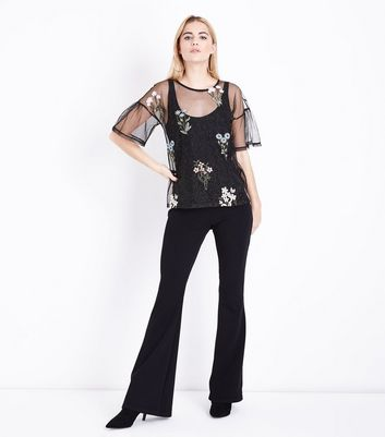 Black Embroidered Glitter Mesh Bell Sleeve Top New Look