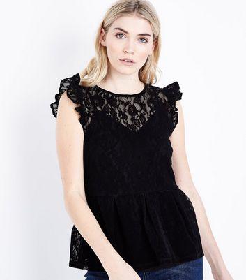 Black Flocked Lace Peplum Hem Top New Look