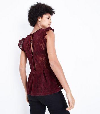 Burgundy Flocked Lace Peplum Hem Top New Look