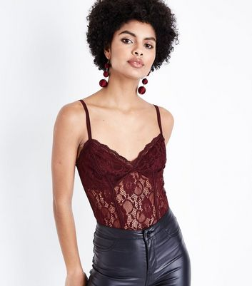 Burgundy Lace Sweetheart Neck Bodysuit New Look