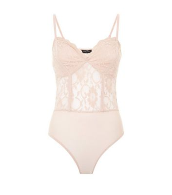 Pale Pink Lace Sweetheart Neck Bodysuit New Look