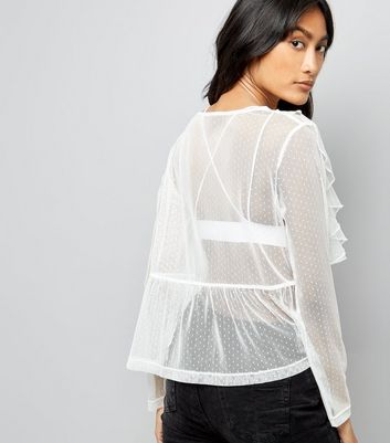 White Frill Trim Lace Mesh Top New Look