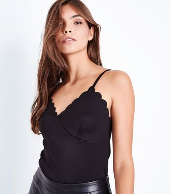 Black Scallop Trim Scuba Cami New Look