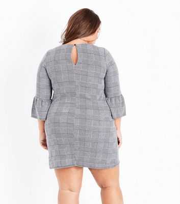 Curves Black Check Bell Sleeve Dress New Look