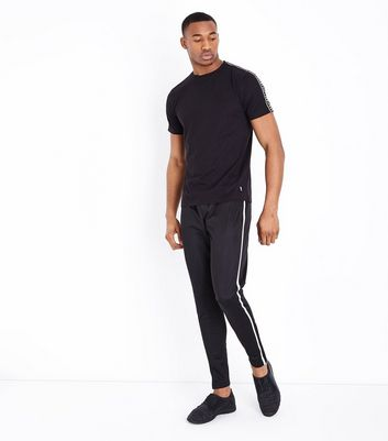 Black Tape Side Sports Top New Look