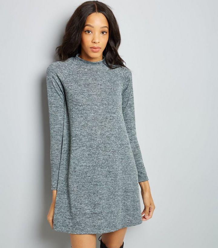 b716e414a792 Grey High Neck Swing Dress