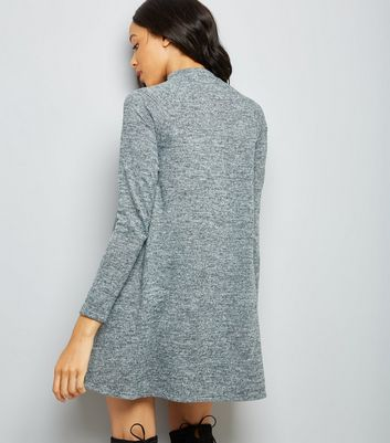 Grey Roll Neck Swing Dress New Look
