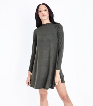 Khaki High Neck Swing Dress New Look