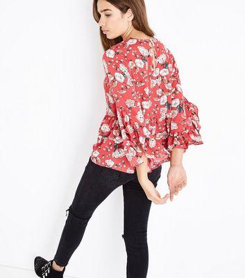 Influence Red Floral Print Peplum Hem Top New Look