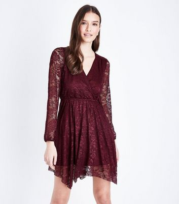 Burgundy Lace Hanky Hem Wrap Dress New Look
