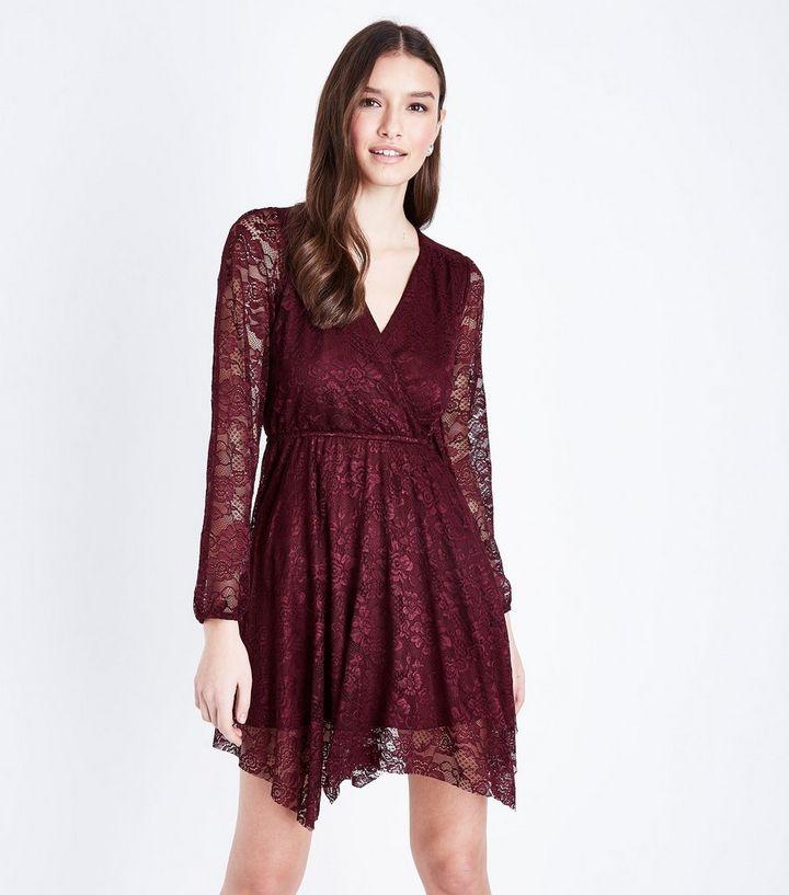 3d3947728489 Burgundy Lace Hanky Hem Wrap Dress