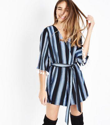 Blue Tassel Trim Stripe Wrap Playsuit New Look