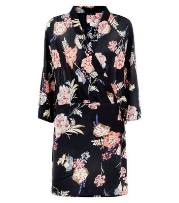Black Floral Print Wrap Front Tunic Dress New Look