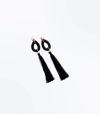 Black Beaded Teardrop Tassel Earrings New Look