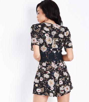Tall Black Floral Crochet Waist Playsuit New Look