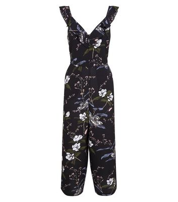 Tall Black Floral Frill Neck Culotte Jumpsuit New Look