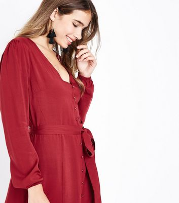 Tall Red Button Front Midi Dress New Look