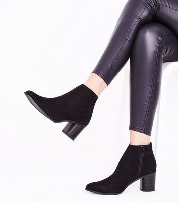 Black Suedette Curved Block Heel Ankle Boots New Look