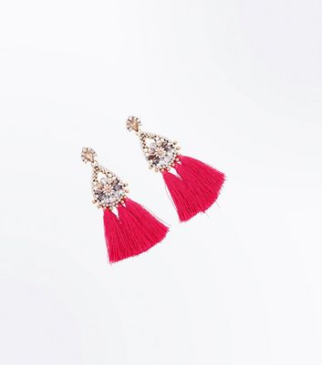 Bright Pink Tassel Embellished Chandelier Earrings New Look