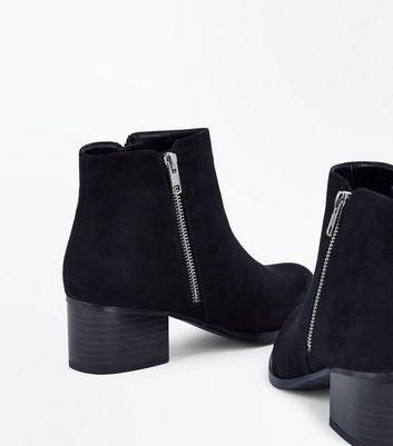 Black Suedette Wooden Block Heel Boots New Look