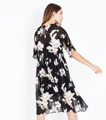 Black Floral Chiffon Midi Smock Dress New Look