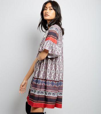 Blue Paisley Print Crochet Trim Smock Dress New Look