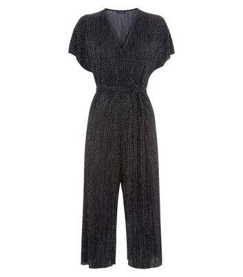 Black Polka Dot Plisse Wrap Front Culotte Jumpsuit New Look