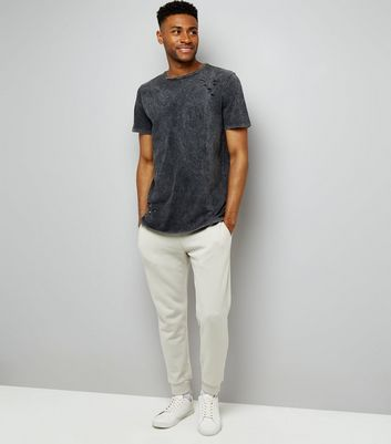Grey Acid Wash Ripped T-Shirt New Look