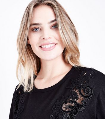 Maternity Black Velvet Cut Out Fine Knit Top New Look