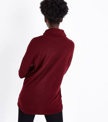 Burgundy Roll Neck Brushed Tunic Top New Look