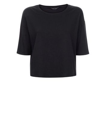 Black Drop Shoulder Boxy T-Shirt New Look