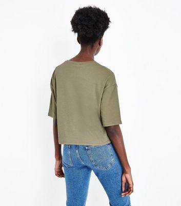 Olive Green Dropped 1/2 Sleeve T-Shirt New Look