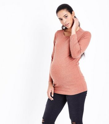 Maternity Rust Ribbed Longline Top New Look