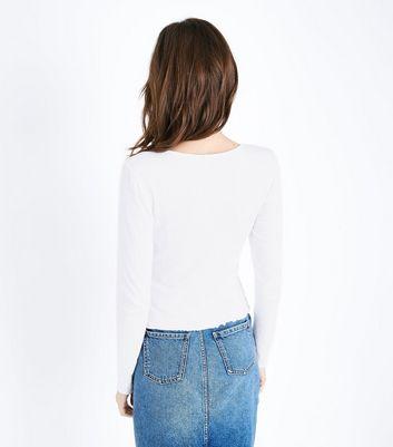 Cream Crinkle Long Sleeve T-Shirt New Look