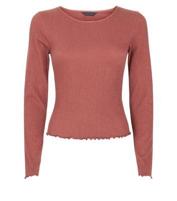 Rust Crinkle Long Sleeve T-Shirt New Look