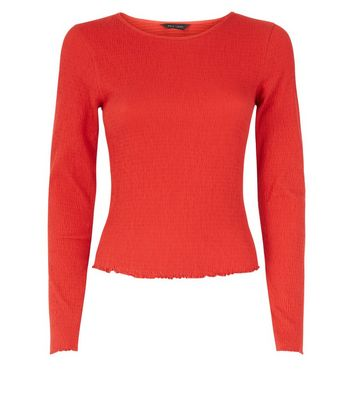 Red Crinkle Long Sleeve T-Shirt New Look
