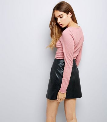 Pink Crinkle Long Sleeve T-Shirt New Look